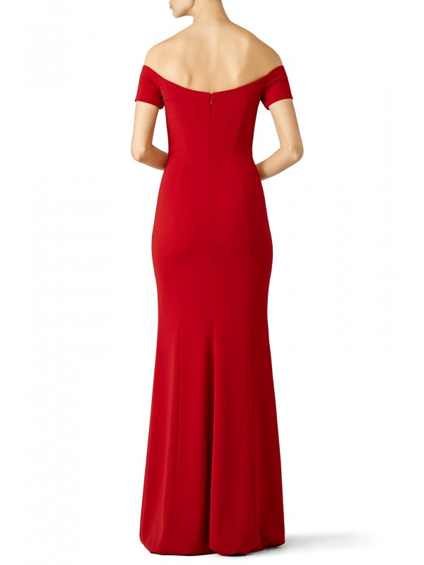 Red Sweetheart Off Shoulder Gown