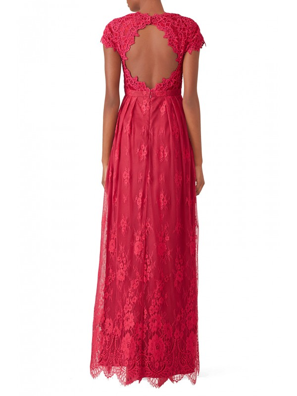 Berry Floral Lace Gown