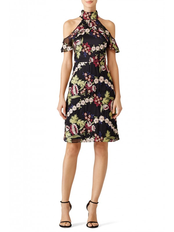 Black Floral Garden Embroidered Dress