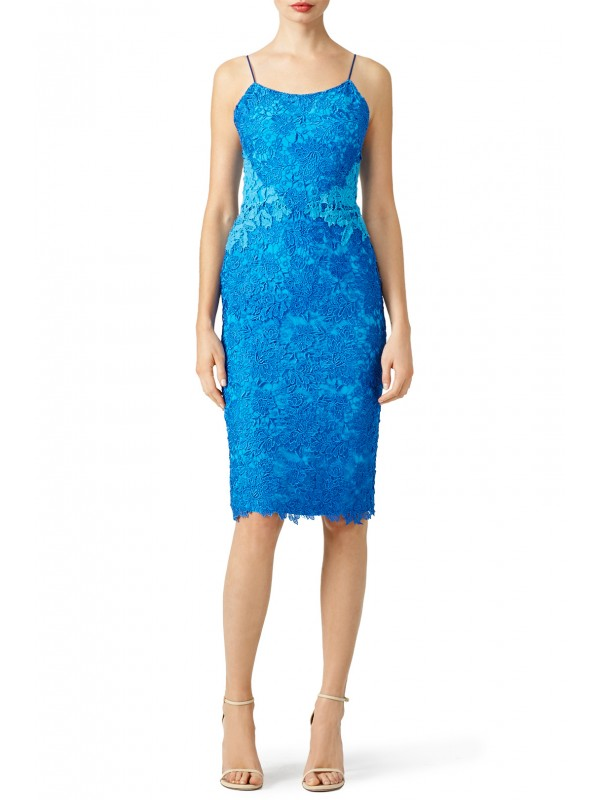Blue Contrast Lace Sheath