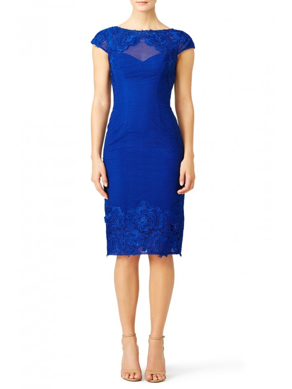 Cobalt Lace Cap Sleeve Sheath