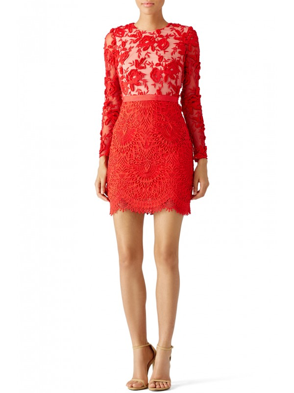 Red Lace Floral Sheath