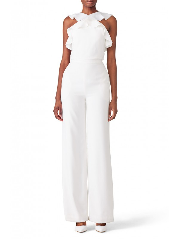 White Ruffle Jumpsuit