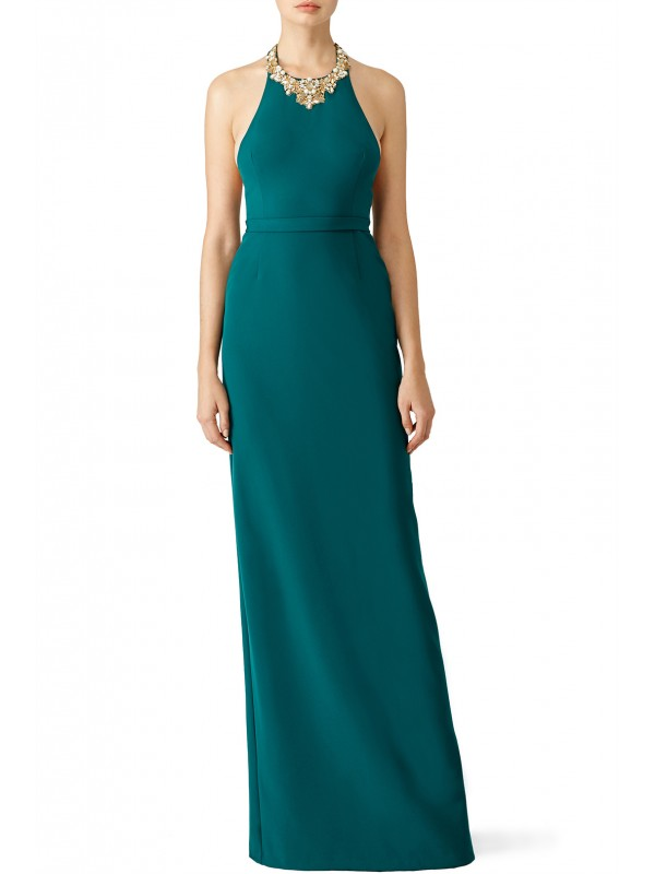 Green Beaded Crepe Gown