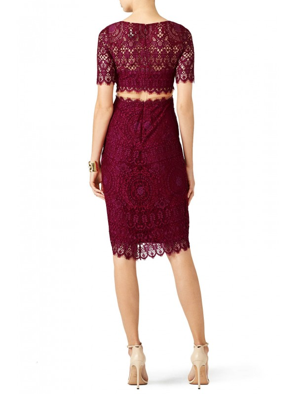 Magenta Midriff Lace Cocktail Dress