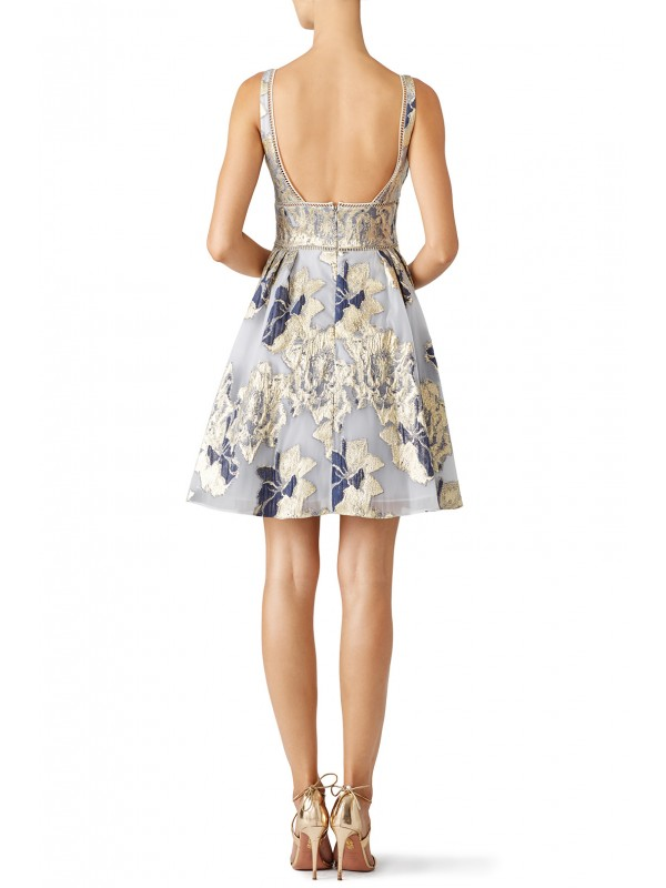 Metallic Floral Cocktail Dress