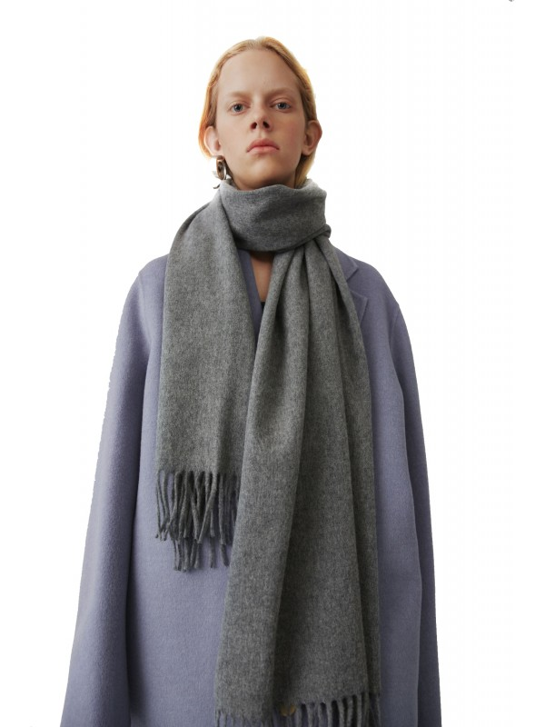 Fringed scarf deep grey melange