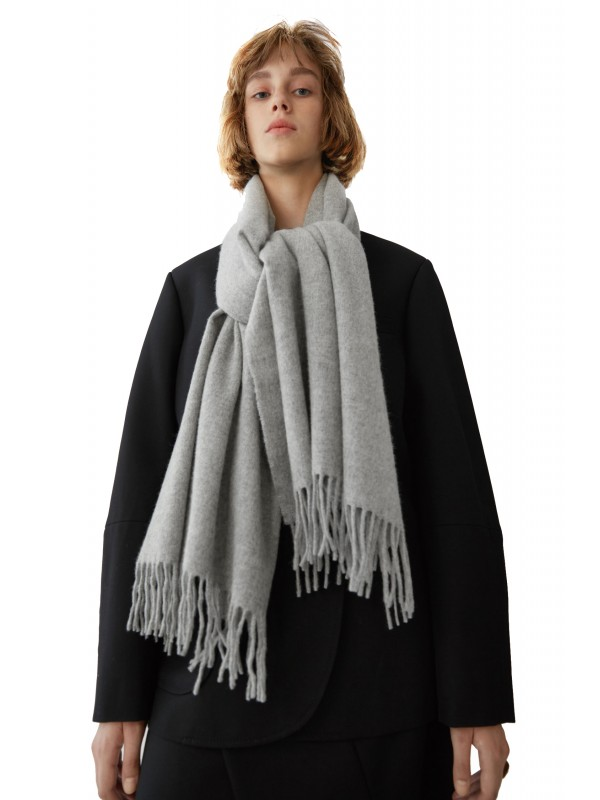 Fringed scarf light grey melange