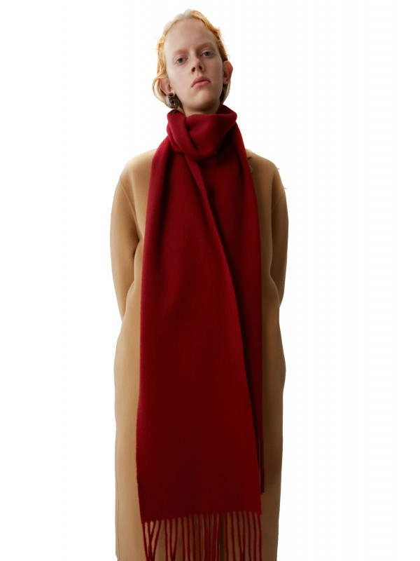 Skinny fringed scarf rust red