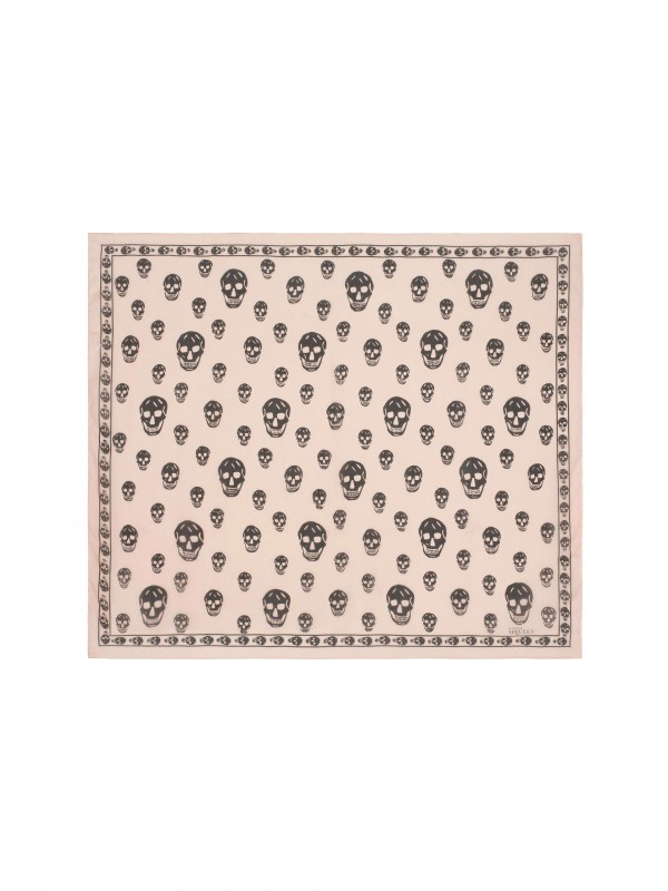 Classic Silk Chiffon SKULL Scarf Light Powder