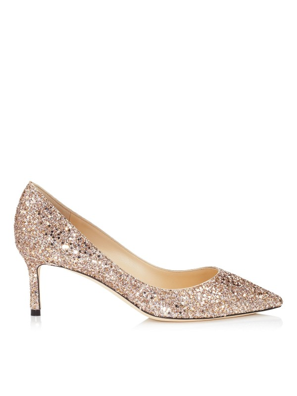 JIMMY ROMY  60 Ballet Pink Shadow Coarse Glitter Fabric Pointy Toe Pumps