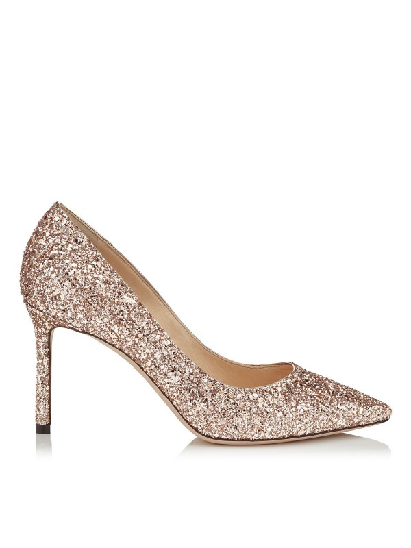 JIMMY ROMY  85 Ballet Pink Shadow Coarse Glitter Fabric Pointy Toe Pumps