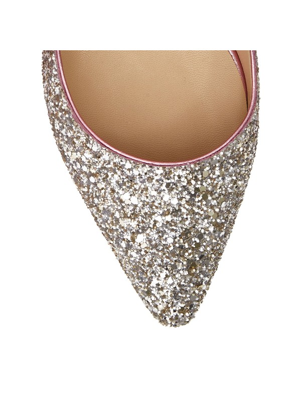 JIMMY ROMY  85 Platinum and Flamingo Ice Glitter Degrade Fabric Pointy Toe Pumps