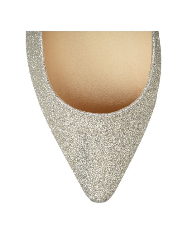 JIMMY ROMY FLAT Platinum Ice Dusty Glitter Pointy Toe Flats
