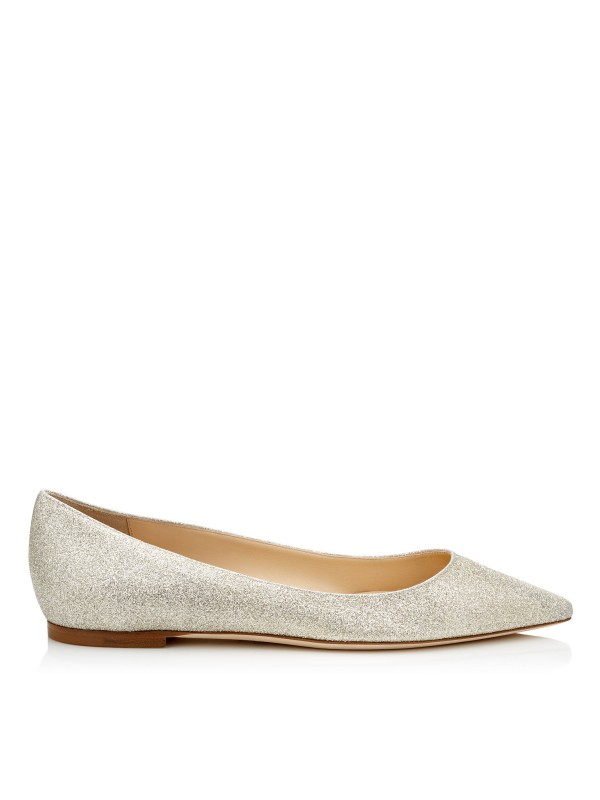 JIMMY ROMY FLAT Platinum Ice Dusty Glitter Pointy ...