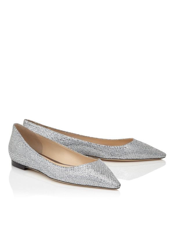 JIMMY ROMY FLAT Silver Glitter Fabric Pointy Toe F...