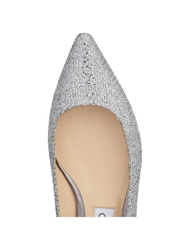 JIMMY ROMY FLAT Silver Glitter Fabric Pointy Toe Flats