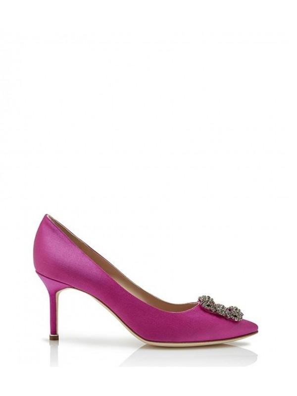 MANOLO HANGISI 70 Pink Satin Jewel Buckled Pumps