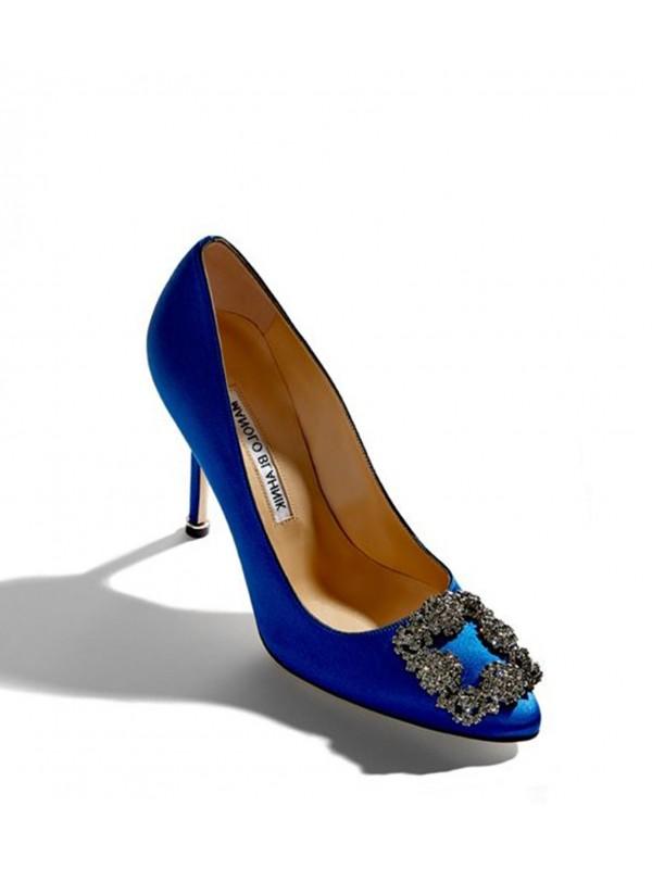MANOLO HANGISI Blue Satin Jewel Buckle Pumps