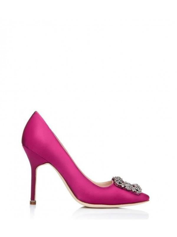 MANOLO HANGISI Pink Satin Jewel Buckled Pumps