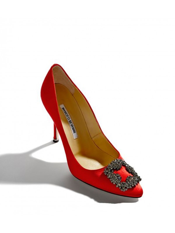 MANOLO HANGISI Red Satin Jewel Buckled Pumps