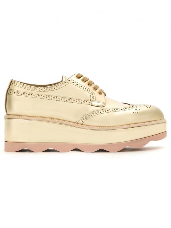 prada Gold Leather waved sole flatform brogues